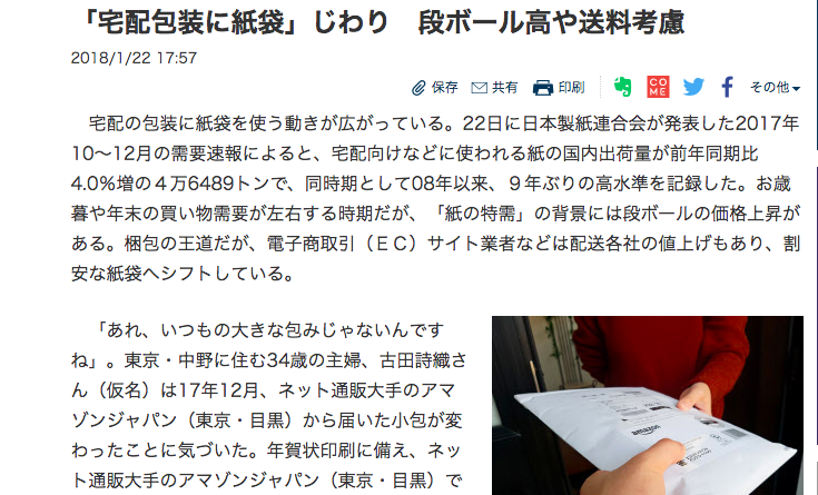 今日の日経新聞に紙袋の記事が載ってます。